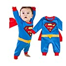 Long Sleeve Superman Romper With Removable Cape (80(Fits 6-12 Months))