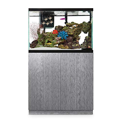 PeetsPets Durable Wood Aquarium Stand with Storage, Up to 29, 40, 55 gal. (40 Gallon, Brushed Steel Look) ()