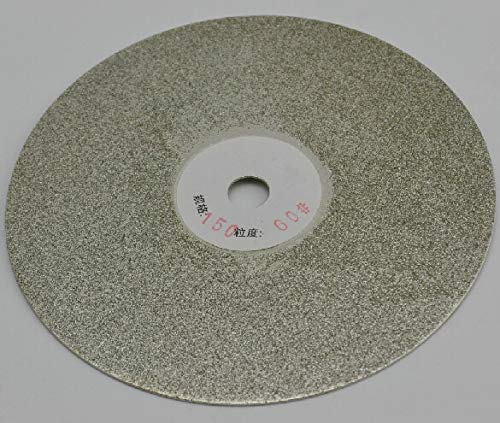 FINCOS 6 inch Grit 80 Electroplated Diamond Flat Lap Disk Wheel for Rough Grinding Jewelry Glass and Lapidary - (Color: Silver)