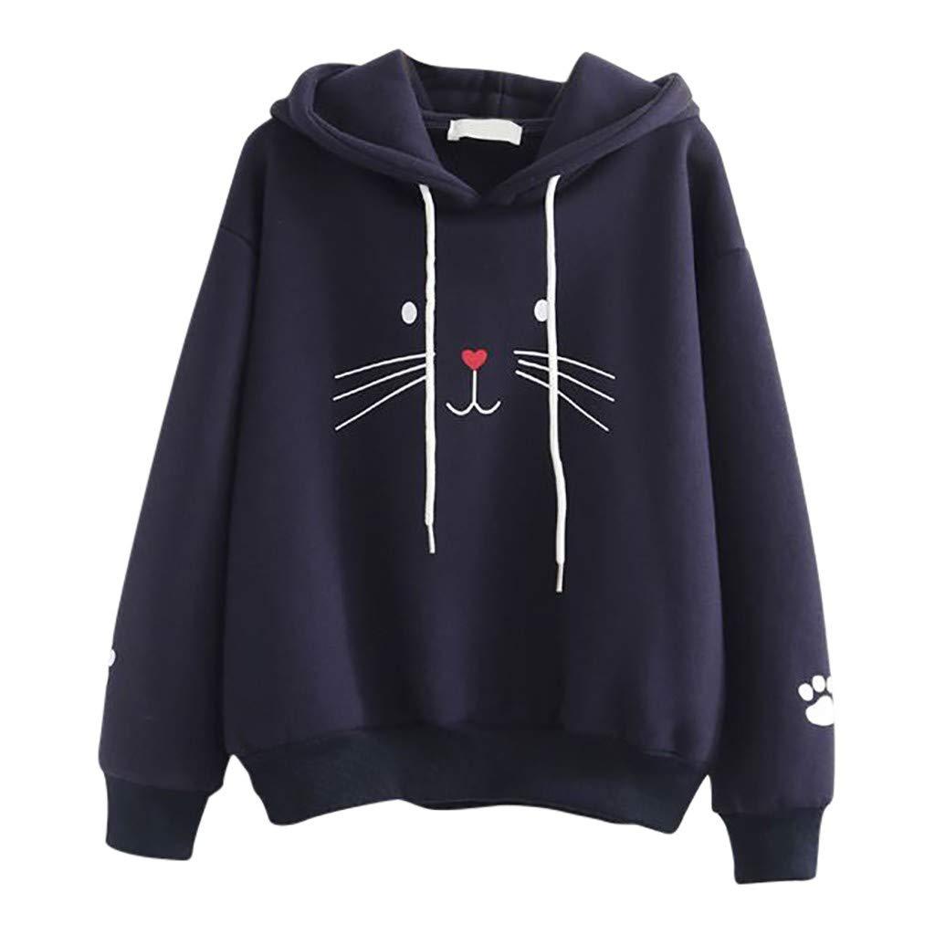 Malbaba Sudadera de gato, Moda Mujer Top Cat Camiseta de impresión Suéter de Manga Larga Blusa suelta Casual Navy by Malbaba