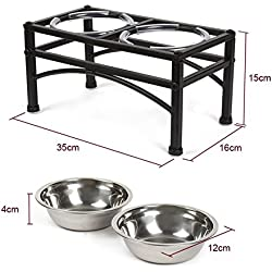 "Elevated Pet Feeder for Small Dog&Cat - Double Bowl Raised Stand + Extra Two Stainless Steel Bowls, Washable - Perfect for Water, Food or Treats by ZHCH(S:1 pint & 5.90""H)"