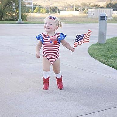 Newborn Baby Girl My First 4th of July Outfits USA Flag Stars Stripes Tassel Romper+Headband
