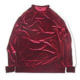 VFIVE UNFOUR Unisex Velvet Velour Hip Hop Oversized Stripe Raglan Fashion Sweatshirts Wine Red XL