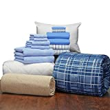 Guys 16 Piece Starter Pak Cameron Light Blue Twin XL College Dorm Bedding and Bath Set