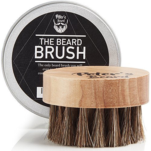 Beard Brush for Men - Round Wooden Handle Perfect for Beard Oil & Balm with Natural Soft Horse Hair Bristles Styling & Grooming Tool Helps Softening and Conditioning ()
