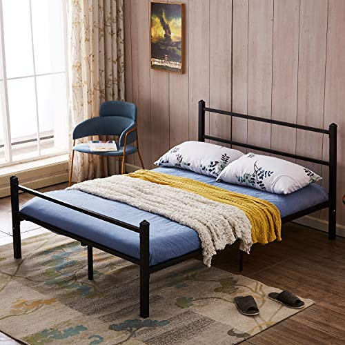 GreenForest Heavy Duty Bed Frame Queen Size No Squeaky Metal Frame Bed with Headboard and Footboard Steel Slat Bed Platform Mattress Support Foundation