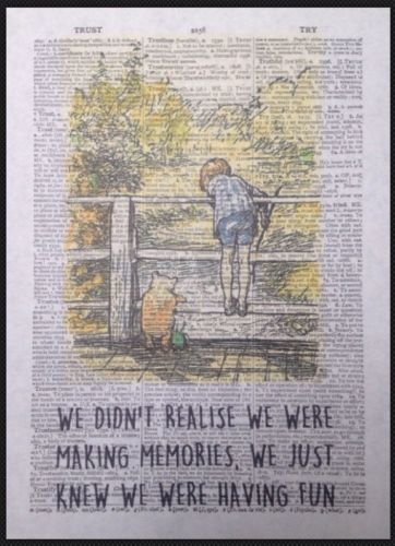 Parksmoonprints Winnie The Pooh Memories Quote Print Vintage Dictionary Page Picture Wall Art Love Cute Quirky Funky Cool