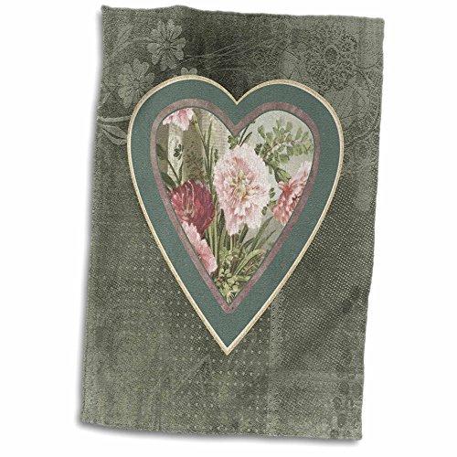 3D Rose Pink Heart On Green Sage Flower Design Hand Towel 15