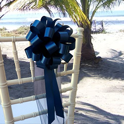 "Navy Blue Wedding Pull Bows with Tulle Tails - 8"" Wide, Set of 6"