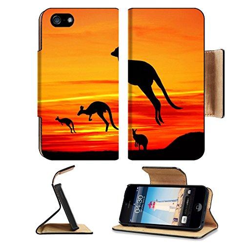 Liili Apple iPhone 5 Plus iPhone 5S Plus Flip Pu Leather Wallet Case Kangaroos in Australian landscape iPhone5 IMAGE ID - Gift Australia Cards Discount