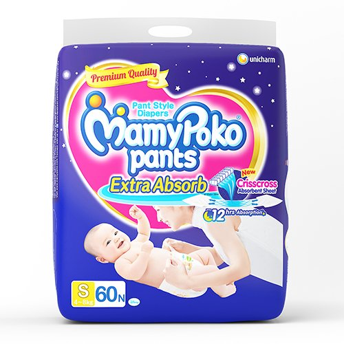MamyPoko Pants Extra Absorb Diapers, Small (Pack of 60)