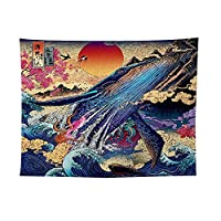 D C.Supernice Japanese Tapestry Whale Deer Snake Goldfish Style Tapestry Wall Hangings Sea Wave Wall Tapestrys Wall Hanging Room Decor