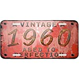 "Personalized Metal License Plate With Vintage Year 1960 - Custom Auto Car Tag 12"" X 6"""