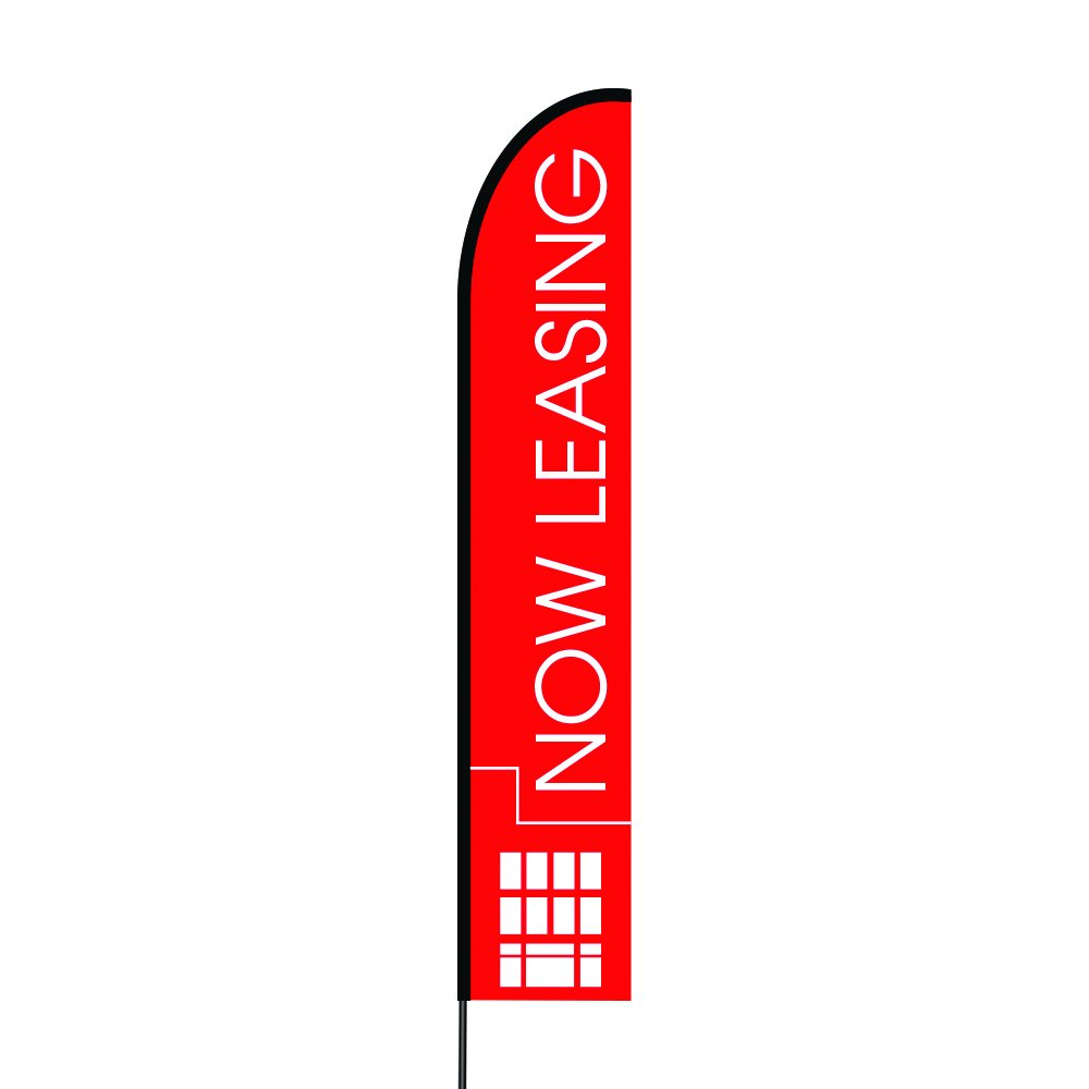 Attractive Outdoor Printed Promotional Business Advertising Swooper Flutter Feather Flag / Banner Complete Pole Kit and Spike, 15 Feet Now Leasing - Red Flag