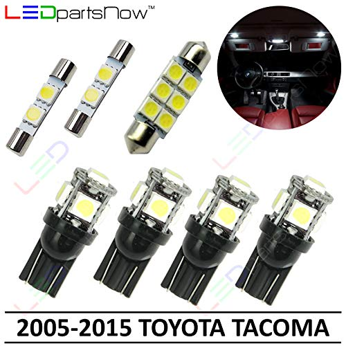 LEDpartsNow Interior LED Lights Replacement for 2005-2015 Toyota Tacoma Accessories Package Kit (7 Bulbs), WHITE