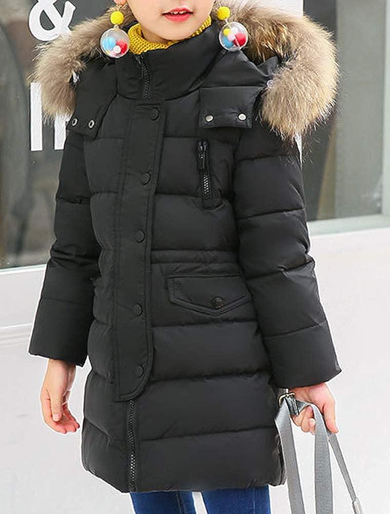 Odziezet Winterjacke Kinder M/ädchen Daunenjacke Lang Kapuzenjacke Pelzkragen Junge Warm Steppjacke 2-13 Jahre alt