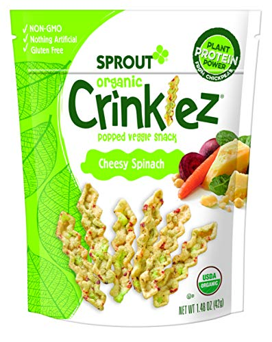 Sprout Organic Crinklez Toddler Snacks, Cheesy Spinach, 1.48 Ounce Bag (Single)