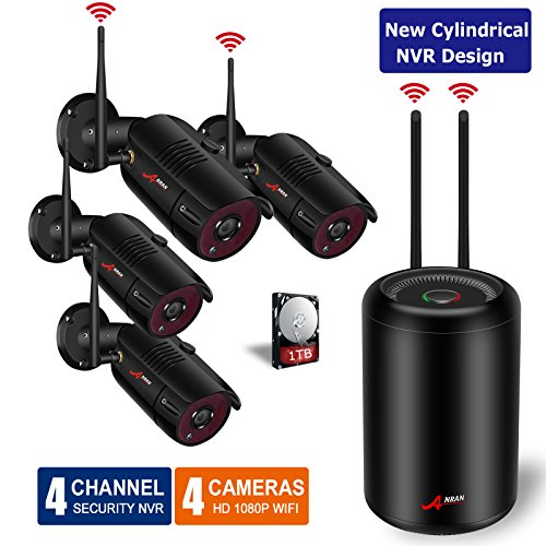 【2019 Newest NVR Design】Wireless Outdoor Home Security Camera System 4 Channel 1080P WiFi NVR Camera System with 1TB HDD with 4Pcs 1080P Waterproof Cameras,Plug in Play System,75ft Night vision,ANRAN ()
