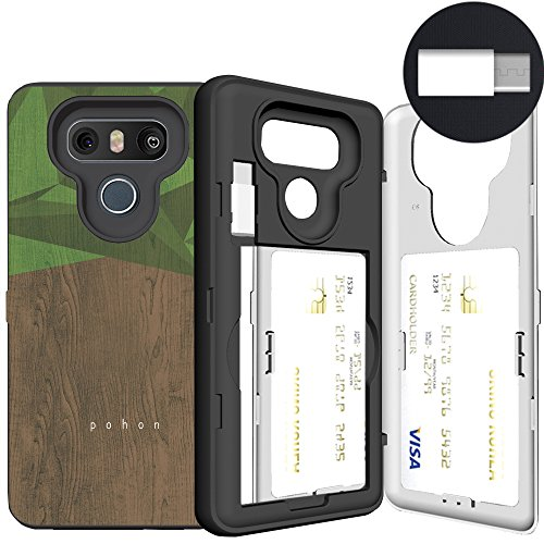 LG G6 Case, Pattern Card Case, SKINU [USB Type C] [Wood] [Dual Layer] [Card Slot] [Drop Protection] [Wallet] with Mirror and Adapter for LG G6 (2017) - Wood
