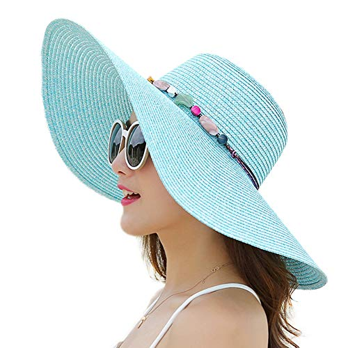 Women Wide Brim Sun Protection Straw Hat for Outdoors Tavel Foldable UV Protection Beach Cap Sun Hat for Summer (B-Blue)