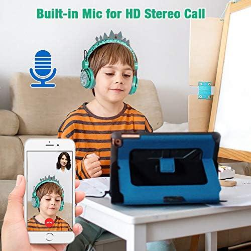 Kids Headphones Boys Wireless Bluetooth Headset w/Mic Over On Ear for School/pc/ipad,Dinosaur Headphones for Kids Children Girls, Volume Limited Adjustable Headset w/1pc Dinosaur Party Bag, Green