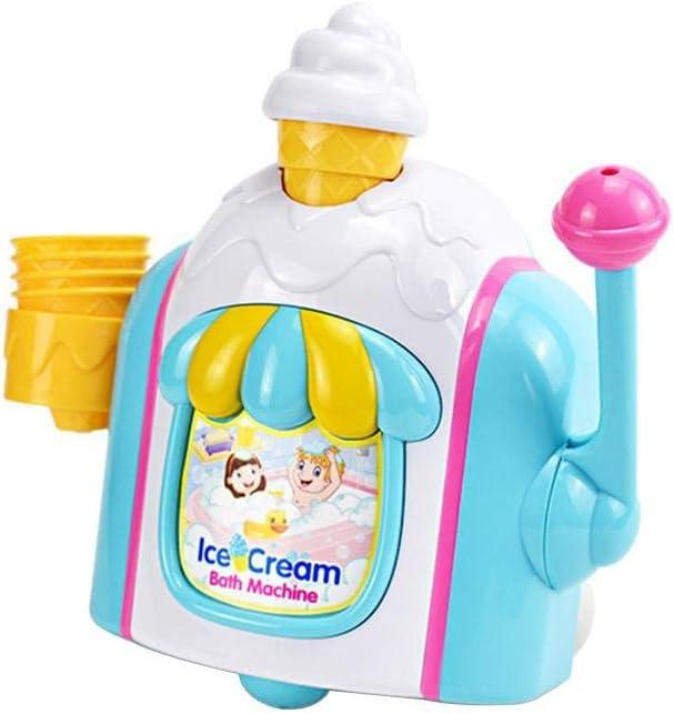 Lorchwise Baby Bath Toys,Foam Cone Factory Preschool Children's Bath Toy,Ice Cream Maker Bubble Machine Pretend Play Set Bathtub Toys Foam Cone Factory Gift for Kids Boys Girls 2 3 4 5 Year Olds