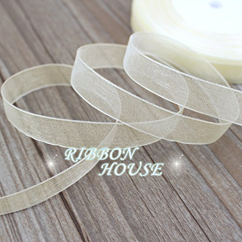 FunnyPicker (50 Yards/Roll) 1/2''(12Mm) Creamy-White Organza Ribbons Wholesale Gift Wrapping Decoration Christmas - Organza Wholesale Ribbon