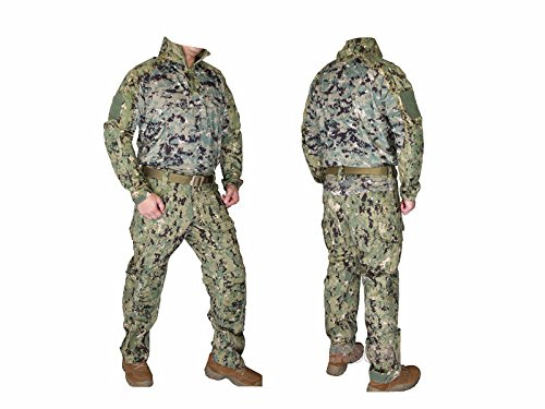 EMERSON製 Riotスタイル コンバット迷彩服 上下セット AOR2 SEALsタイプ迷彩柄 (L) B00RYT9ATC