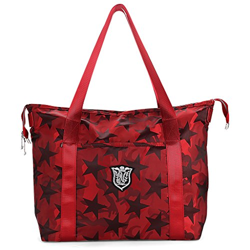 Women's Travel Tote Shoulder Handbag,Super Polyester Fibre Extra Large Lightweight Water Resistant RED
