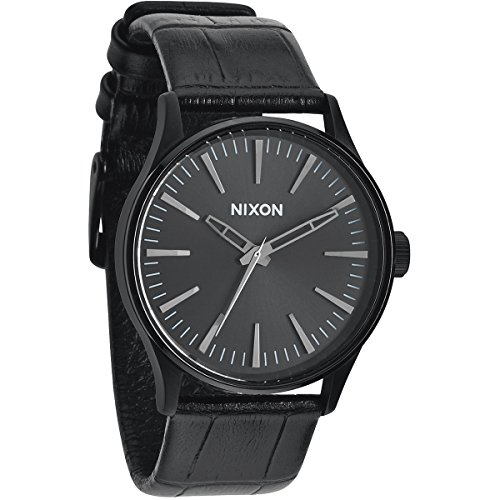 (Nixon The Sentry Black Dial Stainless Steel Leather Quartz Men's Watch A377-1886)