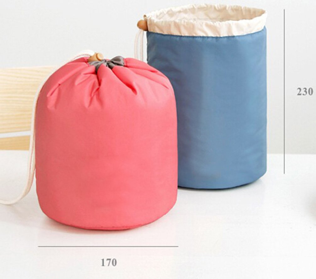 Pevor Cosmetic Bags Bucket Shaped Makeup Bags for Travel Toiletry Bag Waterproof Storage Bag Portable Cosmetics Collection Tools Set Of 3 Pieces Bucket Bag Mini Zipper Bag Transparent Brush Bag (Blue)