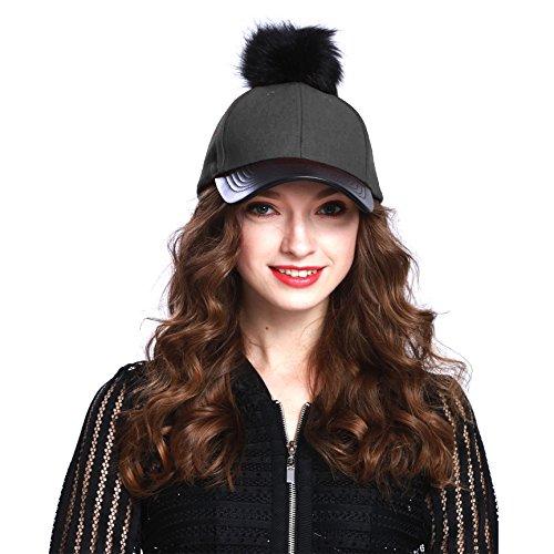 Women's Faux Fur Pom Pom Baseball Cap (Charcoal Gray)