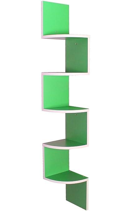 YELLOO MENSOLA Libreria ad Angolo Bianco e Verde Mod. SNAKE GREEN ...
