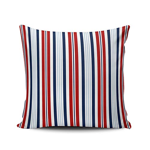 (MUKPU Fashion Home Decoration Design Throw Pillow Case Navy Blue Red White Striped Nautical 24X24 Inch Square Custom Pillowcase Cushion Cover Double Sided Printed (Set of 1))