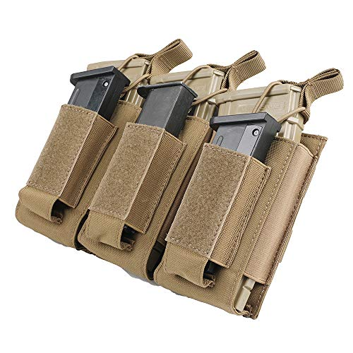 EXCELLENT ELITE SPANKER Open-Top Single/Double/Triple Mag Pouch for M4 M16 AK AR Magazines and Pistol Mag Pouch(COB) (Best Ar Mags Available)