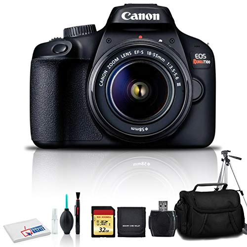 Canon EOS Rebel T100 DSLR Camera with 18-55mm Lens, Cleaning Kit, 32GB Memory Kit, Carry Case, and Full Size Tripod