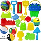 Joyin Toy 20 Pieces Beach Sand Toys Set Models, Beach Pail Set with Molds Bucket, Rake, and Shovel in Zippered Bag With Reusable Easy to Pack Mesh Backpack