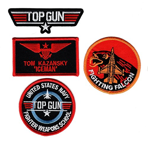 Ice Man Top Gun Movie Name Badge Costume Patch (4PC Set - iron on Sew on)