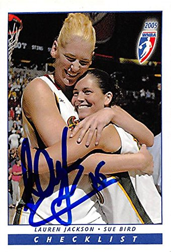 Lauren Jackson autographed Basketball Card (Seattle Storm) 2005 WNBA Enterprises pictured with Sue Bird #108