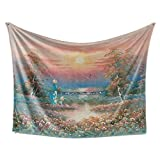 Livetty Tapestry, Floral and Tree Girl Sunset View Tapestry Wall Hangings for Teen(Red, 84Wx59L)