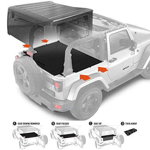 GPCA Jeep Wrangler 2DR JK Trunk Cargo Cover with seat holding strap and 3 configurations for 2007- 2017 Sports/ Sahara/ Freedom/ Rubicon Models