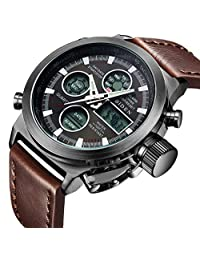 Watch, Mens Watches Digital Multifunction Military Waterproof LED Calendar Nylon Analog Wrist Watch (Brown)
