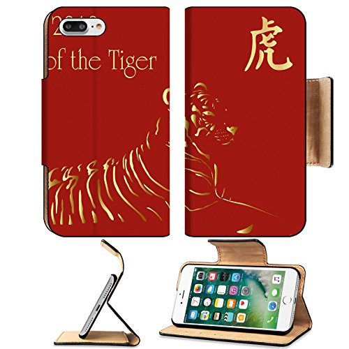 Luxlady Premium Apple iPhone 7 Plus Flip Pu Leather Wallet Case iPhone7 Plus 5802322 2010 chinese new year card with chinese character for Tiger
