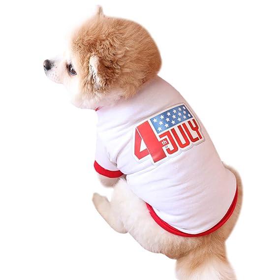 Ropa para Mascotas,Dragon868 América Independencia día Estilo Perros pequeños Camiseta Traje: Amazon.es: Ropa y accesorios