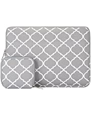 MOSISO Laptop Sleeve Bag Compatible with 13-13.3 Inch MacBook Pro, MacBook Air, Notebook Computer with Small Case, Canvas Geometric Pattern Protective Carrying Cover, Gray Quatrefoil