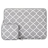 MOSISO Laptop Sleeve Bag Compatible 11-11.6 Inch MacBook Air, Ultrabook Netbook Tablet with Small Case, Quatrefoil Style Canvas Fabric Protective Carrying Cover, Gray