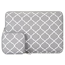 MOSISO Laptop Sleeve Bag Compatible 13-13.3 Inch Old MacBook Air, MacBook Pro Retina, Surface Book, Surface Laptop with Small Case, Canvas Geometric Pattern Carrying Cover, Gray Quatrefoil