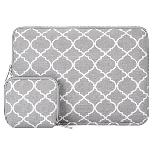 MOSISO Laptop Sleeve Bag Compatible 13-13.3 Inch MacBook Pro, MacBook Air, Notebook Computer with Small Case, Canvas Geometric Pattern Protective Carrying Cover, Gray Quatrefoil
