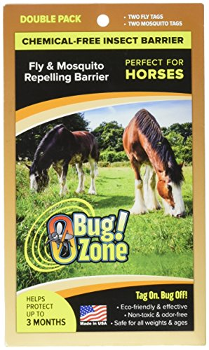 0Bug!Zone Horse Fly and Mosquito Barrier Tag, Double for 2 Horses