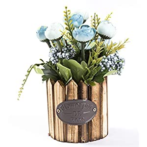 LODESTAR Artificial Flower in Beautiful Pot Mini Fake Floral Bouquet Indoor Outdoor Home Office Wedding Decoration 9